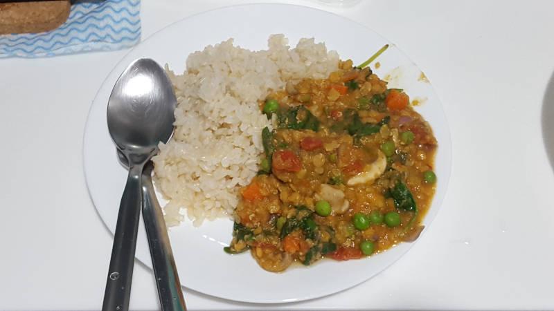 Vegan Meal: Brown Rice with Lentil Stew