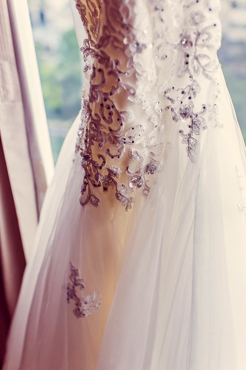 Wedding gown, closeup