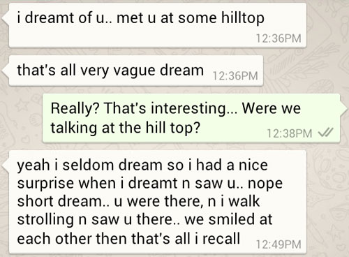 Ken's dream of me at some hilltop